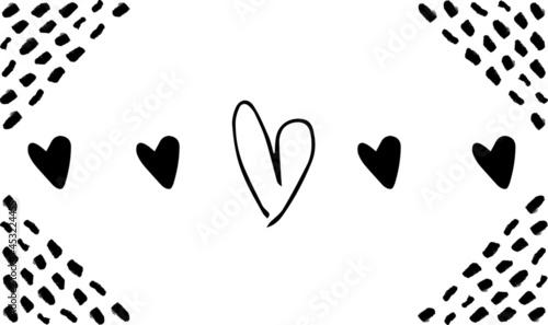 Fotografia valentines day black hearts on white background