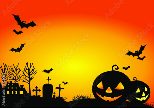 Canvas Print Happy Halloween party invitation background with styled houses, tombstones, tree