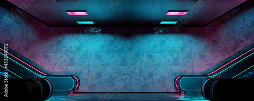 Foto Realistic underground subway station Background with wet floors