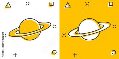 Valokuva Saturn icon in comic style