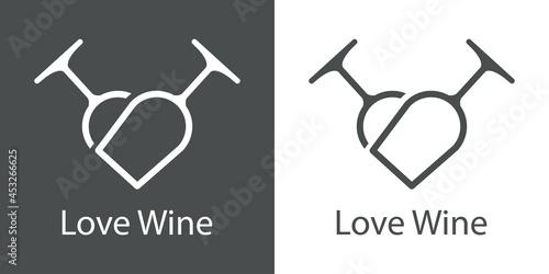 Foto Logotipo con texto Love Wine con 2 copas de vino con forma de corazón con lineas