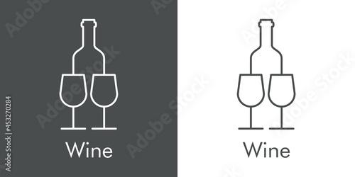 Leinwand Poster Logotipo con texto Wine con silueta de botella de vino y 2 copas de cristal con