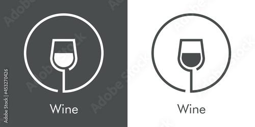 Murais de parede Logotipo con texto Wine con silueta de copa de cristal con vino en círculo con l
