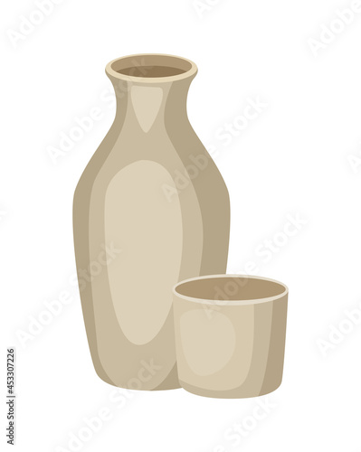 Canvastavla ceramic vase and cup