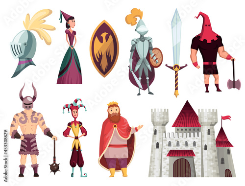 Medieval tales characters flat set with archer blacksmith king queen horn bishop Fotobehang