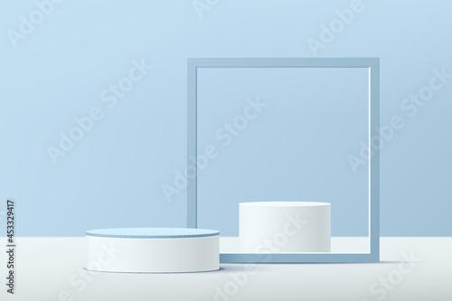 3D vector abstract studio room with pedestal podium Fotobehang