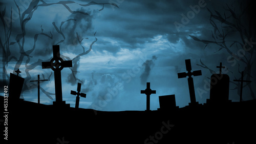 Stampa su Tela Scary and mystical cemetery at night with tombstones, graves and crosses on a moonlight night