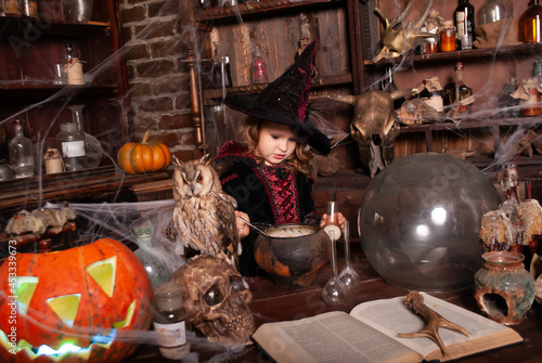 Wallpaper Mural girl charming little witch conjuring potions for Halloween with an assistant oy