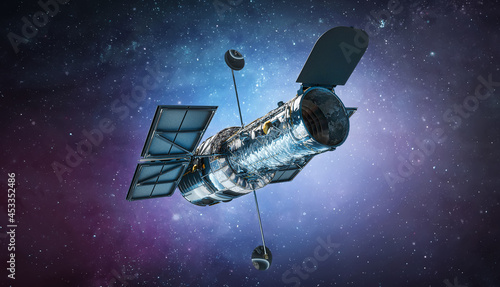 Canvastavla Space telescope Hubble in bright outer space