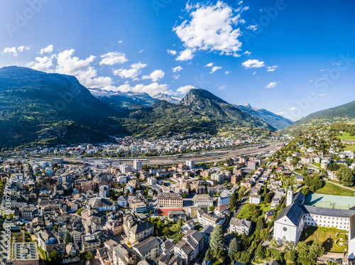 Valokuva Aerial panorama image of the Swiss alpine town Brig in Canton Valais