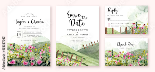 wedding invitation with landscape hill and flower meadow watercolor #453387047
