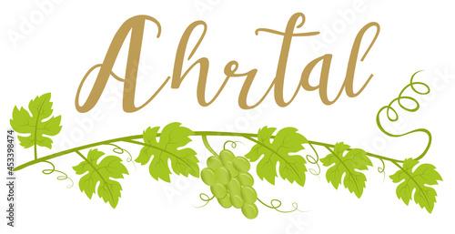 Canvas-taulu Ahrtal Logo mit Weinrebe und Weintrauben, Schriftzug Kalligraphie