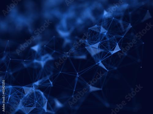 Obraz na płótnie 3D network communications design background with shallow depth of field