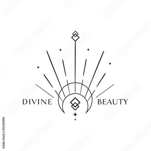 Canvas Print Divine Beauty Premade Logo Design. Black Crescent
