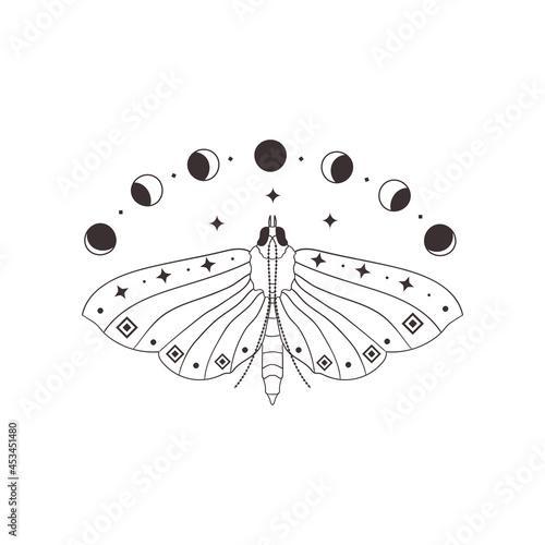 Fotografia Divine Beauty Premade Logo Design. Black Butterfly