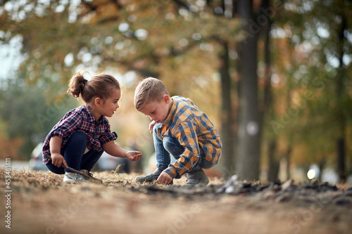 Fotografiet Little brother and sister interested in life in the ground in the forest