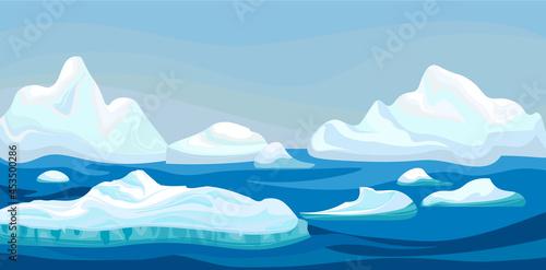 Billede på lærred Cartoon arctic iceberg with blue sea, winter landscape