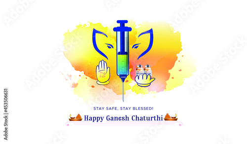 Photo Concept for Ganesh Chaturthi festival background with corona covid 19 vaccine sy