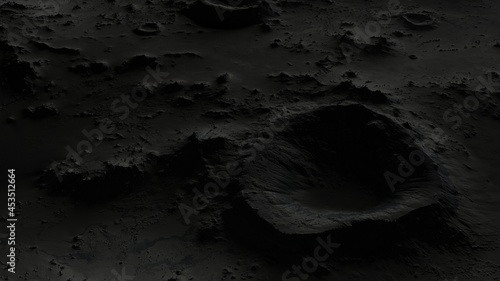 Fotografering the surface of the moon in craters close-up