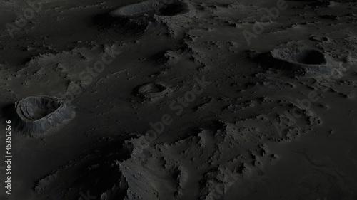 Billede på lærred the surface of the moon in craters close-up