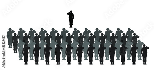 Photo Saluting army soldiers against officer commander vector silhouette illustration isolated on white background
