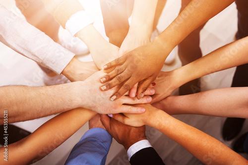 Billede på lærred Diverse People Stacking Hand Together