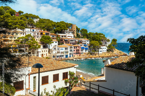 Aerial view of Sa Tuna beach on the coast of Begur in summer, Girona on the Cost Fototapet
