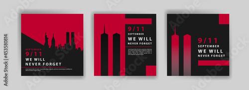 Fotografie, Obraz Social media post template to commemorate the September 11 attacks