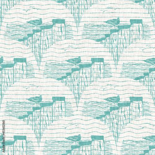Obraz na płótnie Aegean teal hermit crab linen nautical texture background