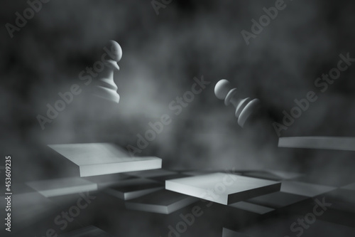 Canvastavla Surrealistic 3D chessboard in a fog with falling white pawns