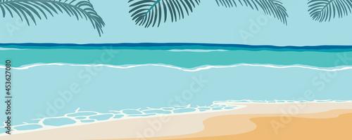 Obraz na plátně Beach postcard with sun,sea and sky in the daytime