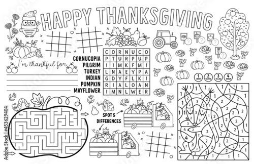 Fotografija Vector Thanksgiving placemat for kids