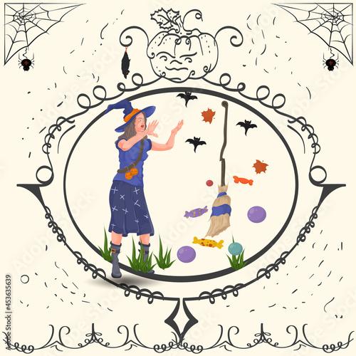Tela Vintage Frame Witch Conjures Halloween holiday Design Flat Illustration