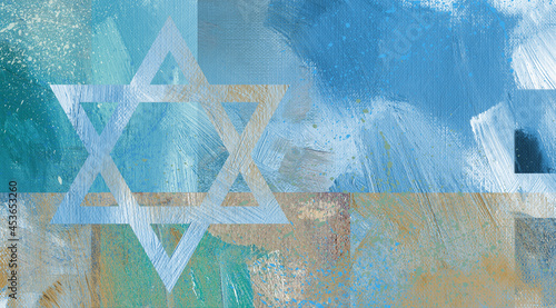 Photo Graphic abstract Star of David  brushstroke background texture