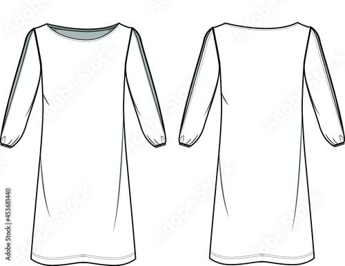 Fotografia, Obraz Slit Bishop Sleeve Shift Dress Front and Back View fashion illustration vector, CAD, technical drawing, flat drawing