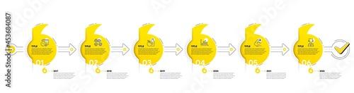 Fotografie, Obraz Gym Infographic timeline with 6 steps