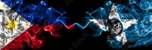 Fotografiet Philippines, Filipino vs United States of America, America, US, USA, American, Houston, Texas smoke flags side by side