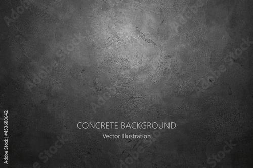 Canvas Black stone wall background. Vector concrete texture.