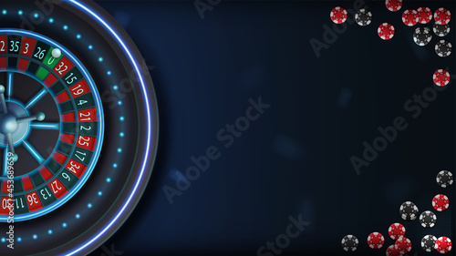Fotografiet Blue neon casino roulette on blue table with poker chips, top view