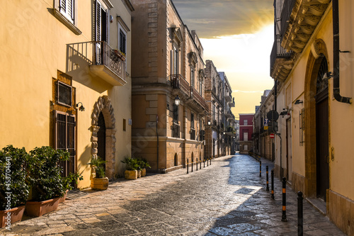 Vászonkép An empty back street in the Southern Italian town of Brindisi, Italy, in the Puglia region