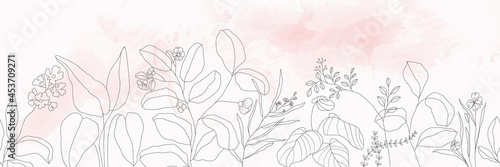 Valokuvatapetti minimal botanical graphic sketch line art drawing, trendy tiny tattoo design, fl