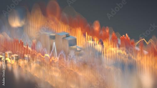 Fotografia Sound wave music equalizer with shallow DOF 3D render