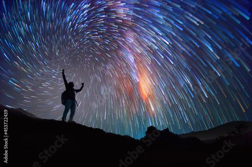 Obraz na plátně Landscape with Milky Way