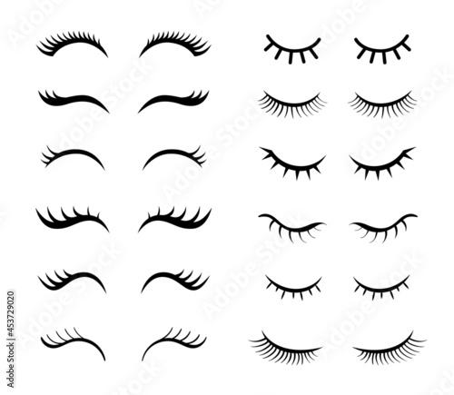 Fotografia Eyelashes for girls simple vector illustrations set