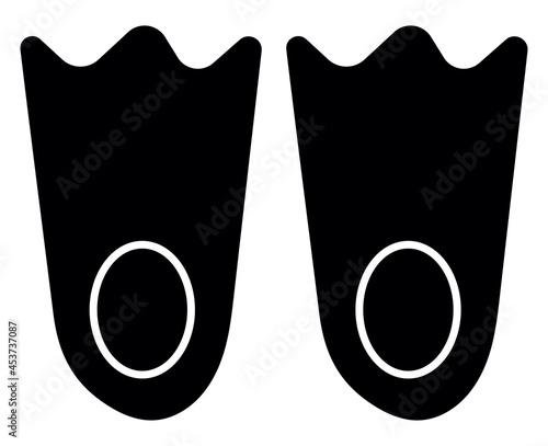 Fototapeta Black diving flippers, illustration, vector, on a white background