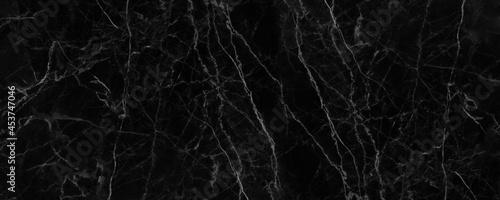 Fotografiet Panorama black marble texture for background or tiles floor decorative design