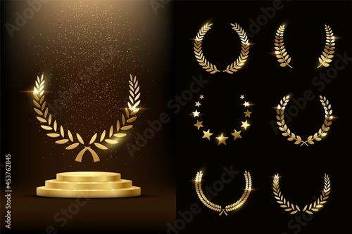 Obraz na plátně Golden podium with laurels and stars glowing