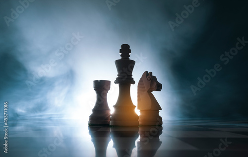 Fotografie, Tablou Chess pieces on the chessboard
