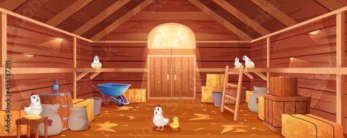Fotografía Cartoon barn interior with chickens, straw and hay