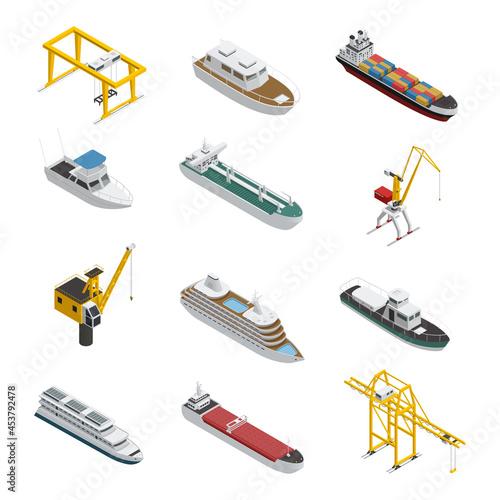 Sea And River Vessel Isometric Icons Set Fototapet